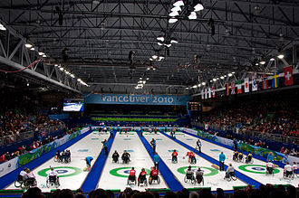 Wheelchair curling at the 2010 Winter Paralympics - Wheelchair Curling at the Vancouver Olympic/Paralympic Centre, during the 2010 Paralympics.