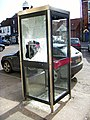 Vandalised telephone booth in Barton-Upon-Humber, North Lincolnshire, England.jpg