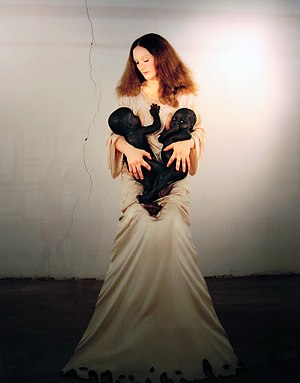 Vanessa Beecroft - Beecroft in White Madonna with Twins (2006)