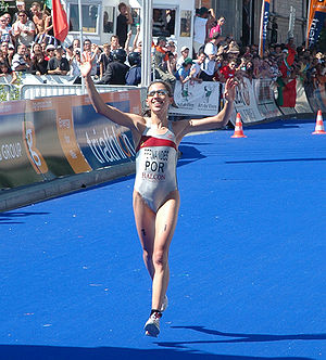 Vanessa Fernandes - Fernandes finishing second in Lausanne 2006