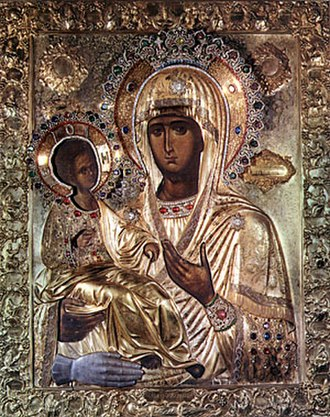 "Tama (votive) - A wonderworking icon of the Theotokos, ""The Three-handed"" (Trojeručica), the third hand in silver is a votive offering in thanksgiving for a miracle."