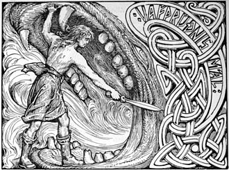 Fenrir - An illustration of Víðarr stabbing Fenrir while holding his jaws apart (1908) by W. G. Collingwood, inspired by the Gosforth Cross
