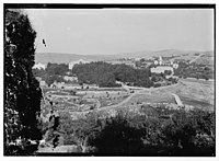 View from the west of the village of Emmaus (Qubeibeh) showing the Franciscan church and convent, with Nebi Samwil on horizon LOC matpc.06271.jpg