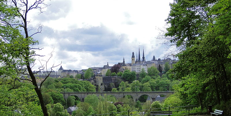 View of Luxembourg City from rue Jules Wilhelm.JPG