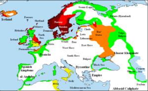 แผนที่แสดงการตั้งถิ่นฐานสแกนดิเนเวียของชาวไวกิง สีแดงเข้ม-ระว่าง พ.ศ. 1244-1343, สีแดง-ระว่าง พ.ศ. 1344-1443, สีส้มเข้ม-ระว่าง พ.ศ. 1444-1543, และสีเหลือง-ระว่าง พ.ศ. 1544-1643, บริเวณสีเขียวแสดงพื้นที่ที่มักถูกโจมตีโดยพวกไวกิงบ่อยแต่ไม่มีการตั้งถิ่นฐานมาก