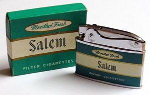 Salem (cigarette) - Image: Vintage Salem Cigarette Lighter by Penguin, No. 18250, Made in Japan (10254920323)