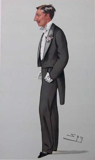"George Montagu, 8th Duke of Manchester - ""Kim"" Montagu as caricatured by Spy (Leslie Ward) in Vanity Fair, April 1882"