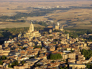 Segovia - Aerial view showing part of the city.