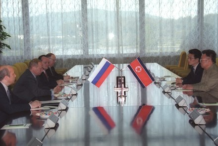 North Korean leader Kim Jong-il meeting with Russian President Putin, 19 July 2000 Vladimir Putin with Kim Jong-Il-7.jpg