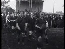 Bioscoopjournaal uit 1924. Verslag van de (regionale) wedstrijd Zuid-Nederland tegen Luxemburg op een voetbalveld in Eindhoven.