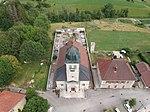 Vue aérienne de l'église de Leschères.JPG