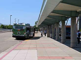 Dublin/Pleasanton station - WHEELS buses at the station in 2018