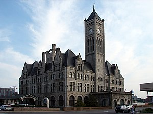 Union Station (Nashville) - Image of Union Station in 2008 taken at street level showing the major architectural features of what is now a hotel