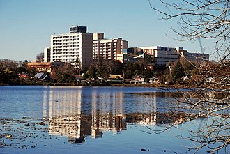 Waikato Hospital - Waikato Hospital seen across Hamilton Lake.