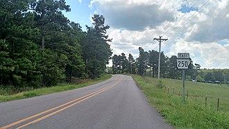 Arkansas Highway 250 - Highway 250 near the western terminus