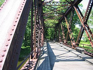 Wallkill Valley Rail Trail - The Springtown truss bridge that carries the trail over the Wallkill River
