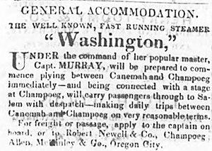 "Canemah, Oregon - 1852 advertisement for the ""splendid steamer Washington"" running between Canemah and Champoeg Oregon Territory"