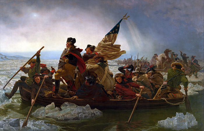 Washington Crossing the Delaware, an 1851 oil-on-canvas painting by artist Emanuel Leutze, dramatizing and symbolically representing George Washington's crossing of the Delaware River from Pennsylvania to New Jersey in December, 1776.