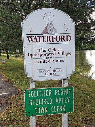 Waterford (village), New York - Village of Waterford gateway sign