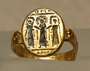 Wedding ring, Byzantium, 7th c. AD, nielloed gold.