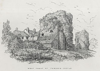 Pencoed Castle - The west front of Pencoed Castle, depicted in 1865