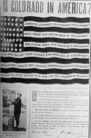 "Charles Moyer - The poster ""Is Colorado in America?"", with signature by Charles Moyer (bottom, left), which led to his arrest in 1904."