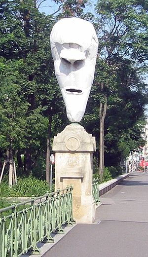 Franz West - Lemurenkopf (Aluminium and white paint) 2001, (lemurs head; one of four lemurs heads), Stubenbrücke, Vienna, (close to Museum of Applied Arts, Vienna)