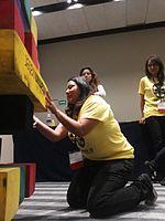 Wikimania 2015-Wednesday-Volunteers play Weasel-Jenga (11).jpg