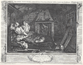 William Hogarth - Industry and Idleness, Plate 7; The Idle 'Prentice return'd from Sea, & in a Garret with common Prostitute.png