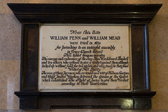 Old Bailey - Plaque commemorating Bushel's Case of 1670
