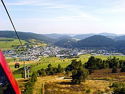 Germany / Hesse: view out of the ettelsberg cable car to Willingen