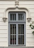 Window of a very beautiful Gothic Revival house on the Jean-Louis Calderon street from Bucharest (Romania).jpg