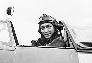 Wing Commander Raymond Harries, commanding the Tangmere Wing, in the cockpit of his Spitfire Mk XII, 1943. CH11472.jpg
