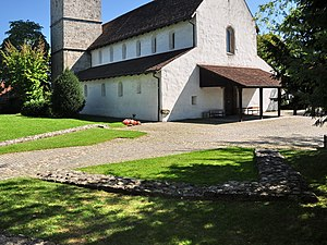 Vitudurum - St. Arbogast church in Oberwinterthur and the foundation walls at the site of the Roman castle