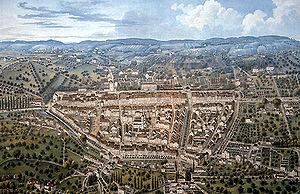Winterthur aus der Vogelschau 1850
