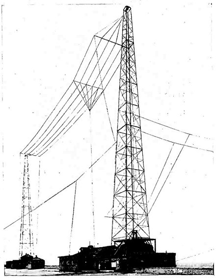 Multiwire T antenna of radio station WBZ, Massachusetts, USA, 1925. T antennas were the first antennas used for medium wave broadcasting, and are still used at lower power Wire T antenna station WBZ 1925.jpg