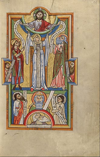 Holy Wisdom - Full-page illustration of Sapientia (Wisdom) of the 12th century. Wisdom is the central figure, between the figures of Christ (above), Zechariah, father of John the Baptist and the patriarch Jacob (below), David and Abraham, Malachi and Balaam, Isaiah and Daniel (to the left and right, respectively)