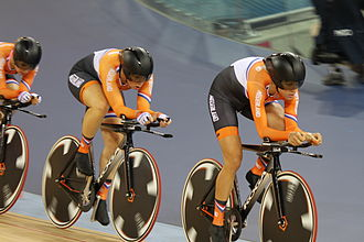 Cycling at the 2012 Summer Olympics – Women's team pursuit - The Dutch team (Ellen van Dijk, Kirsten Wild, Amy Pieters)  riding the qualification