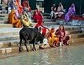 Women sitting at the ghat on the banks of Ganges, Rishikesh.jpg