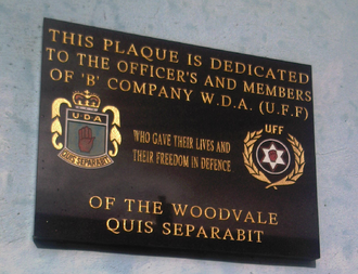 Woodvale Defence Association - Plaque commemorating the organisation in the Woodvale area, October 2011