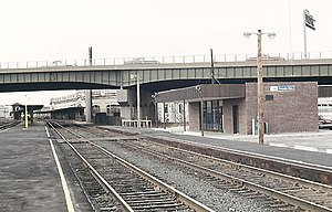 Interstate 290 (Massachusetts) - The I-290 viaduct at Worcester station in 1976