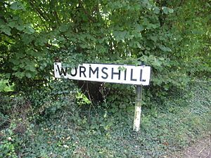 Wormshill - Road sign with the village's name
