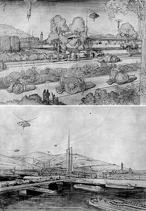 Broadacre City - Sketches for Broadacre City project by Frank Lloyd Wright.