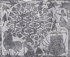 Wu Family Shrines - Rubbing of a detail from the Wu family shrines' stone relief carvings. The scene depicts the Fusang tree, Xihe who is going to hitch her Dragon Horse to the Sun Chariot, and Archer Yi who takes aim at the Sun Crows.