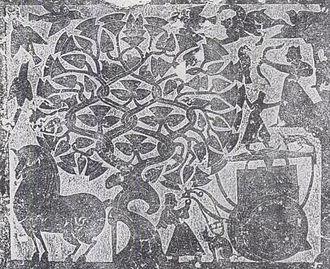 Longma - A longma (lower left corner) on a rubbing from the Wu Liang shrines' reliefs
