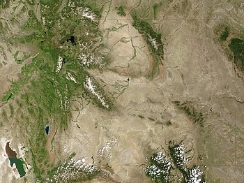 Satellite image of the Wyoming Basin, Wyoming,...