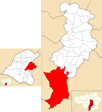 Wythenshawe and Sale East (UK Parliament constituency) - Wythenshawe and Sale East electoral wards - Brooklands, Priory, and Sale Moor within Trafford Council (left) and Baguley, Brooklands, Northenden, Sharston and Woodhouse Park within Manchester City Council (right).