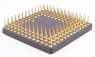 Pin grid array type of integrated circuit packaging. In a PGA, the package is square or rectangular, and the pins are arranged in a regular array on the underside of the package