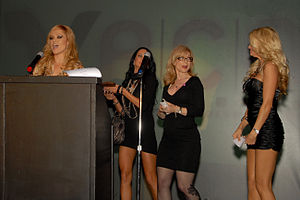 X-Rated Critics Organization - Presenters on-stage for the 25th Anniversary XRCO Awards, Hollywood, California on April 17th 2009. From left to right, Angelina Armani, Alektra Blue, Nina Hartley, Jessica Drake