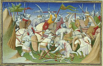 Somaliland - The Sultan of Adal (right) and his troops battling King Yagbea-Sion and his men. From Le livre des Merveilles, 15th century